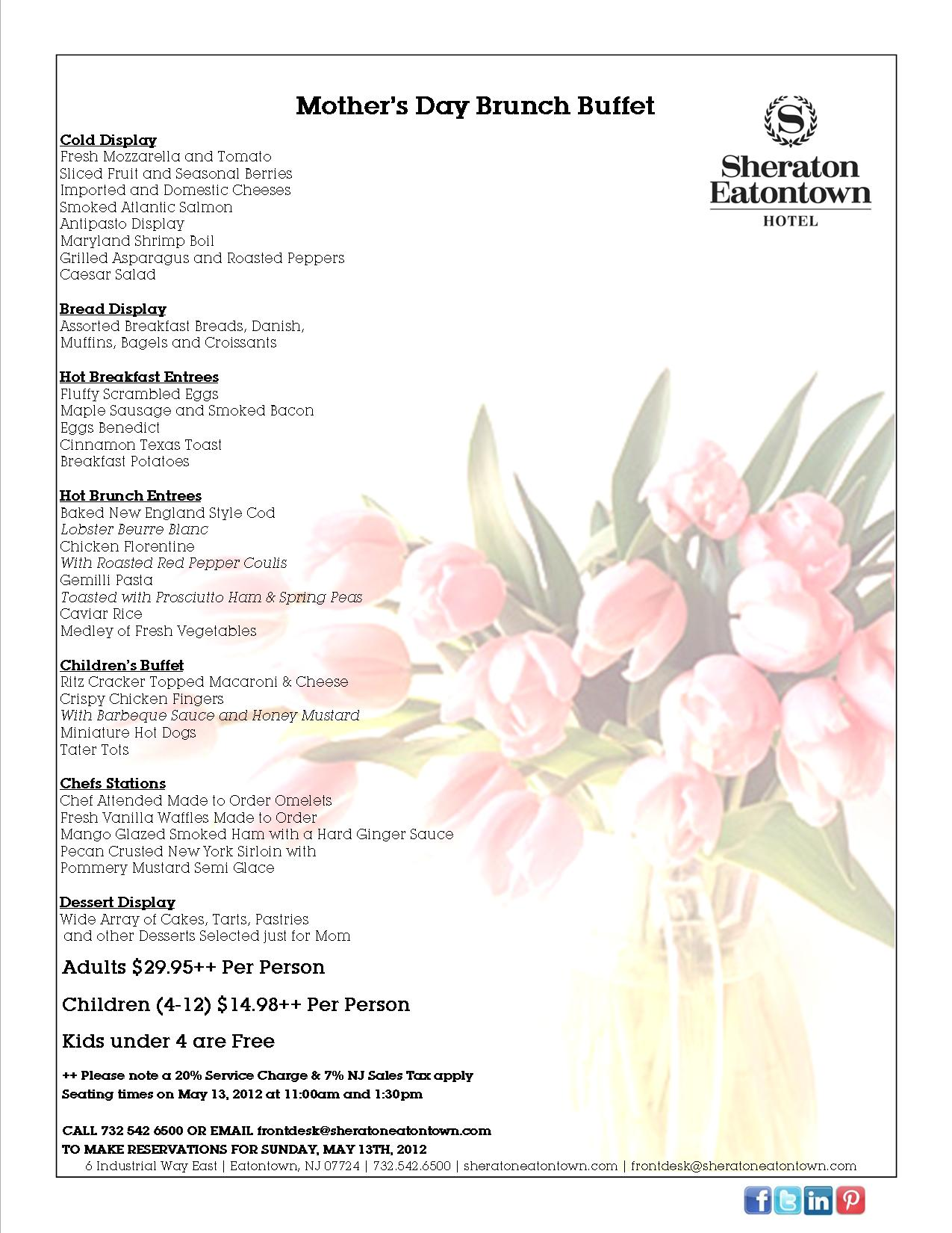 Bountiful Buffet For Mother's Day This Sunday   Sheraton Eatontown ...