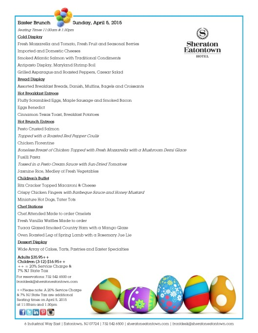 Sheraton Eatontown 2015 Easter Brunch Menu